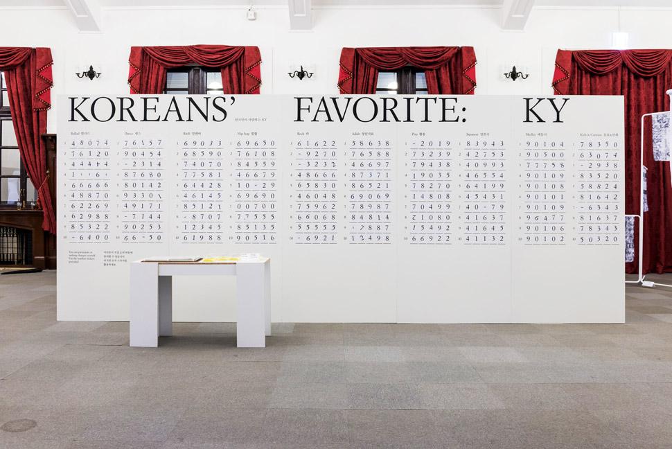 노래방 기기의 번호로 작품을 만들어가는 김형재+홍은주 디자이너의 〈한국인이 사랑하는〉, 2017