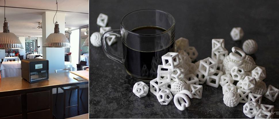 (좌) 한 레스토랑에 설치되어 있는 푸디니(Foodini) 3D 음식 프린터. Courtesy: Natural Machines (우) 3D 시스템스 사가 개발한 세프젯 프로(ChefJet Pro) 3D 음식 프린터를 이용하여 미국의 요리학교 컬리너리 인스티튜트 오브 아메리카(The Culinary Institute of America)가 개발해 찍어낸 각설탕 디자인. 초콜릿, 바닐라, 민트, 과일향 파우더를 3D 프린터기에 주입하면 프로그램된 형태로 3차원 인쇄된다. Courtesy: 3D Systems