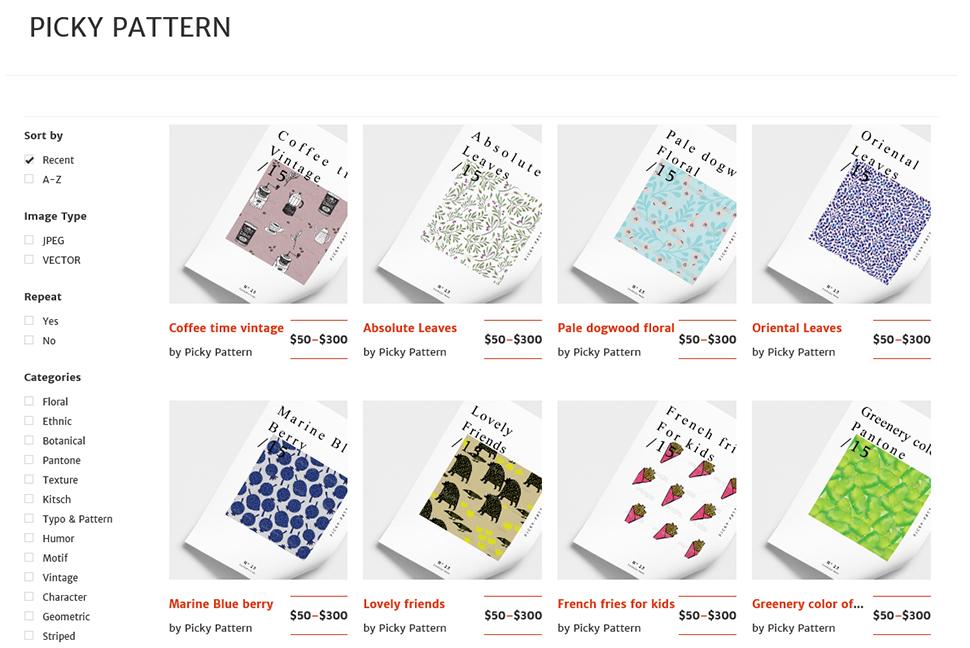 다양한 패턴디자인을 사용 목적에 따라 구매할 수 있다.