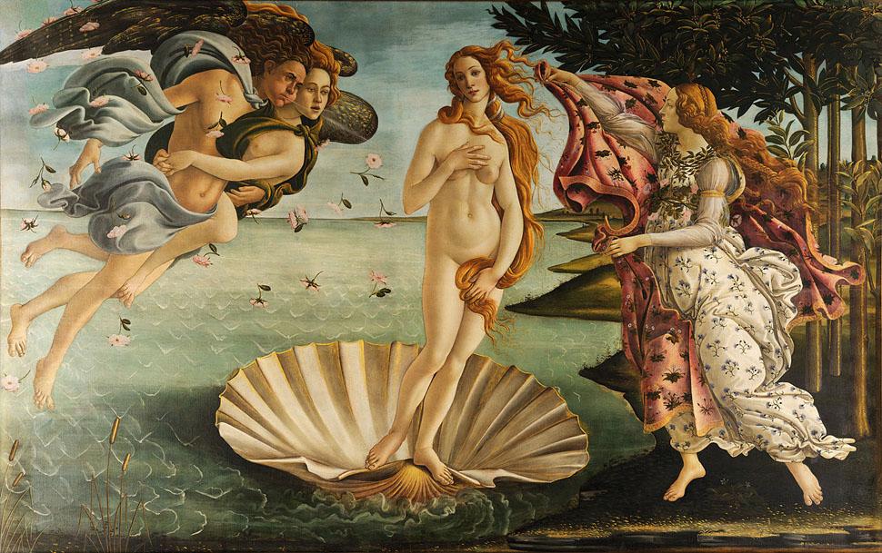 유럽 르네상스 시대의 아름다움의 여신 비너스. 이 작품은 왜 시공을 초월해 아름답다고 여겨지는 것일까? 산드로 보티첼리(Sandro Botticelli) 비너스의 탄생(The Birth of Venus)〉, Tempera on canvas, 172.5cm X 278.9cm(67.9 in. X 109.6 in.), 1486, Uffizi, Florence
