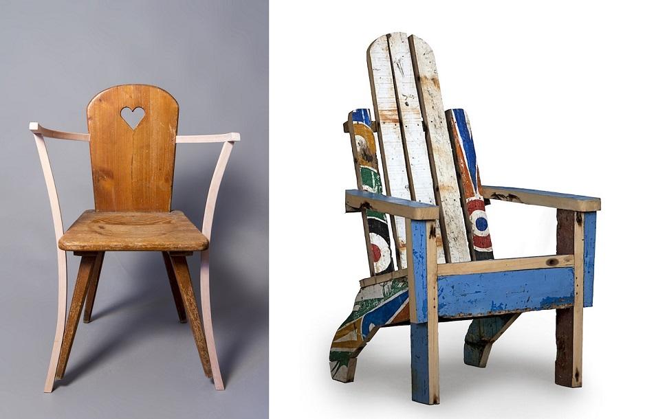 (왼쪽) 브레디드 에스케이프(breadedEscalope)가 재작업한 피피스트렐로(Pipistrello) 의자 프로토타입, 2015년, 낙엽송, 참목, 너도밤나무, 95x65x55cm © breadedEscalope. (오른쪽) 하몬 론치 아르트란티크(Ramón Llonch/Artlantique)가 폐기된 통나무배의 목재를 재활용해 만든 팔마린 팔걸이 의자(Palmarin armchair), 2014년, 110x60x56cm, Galería Out of Africa, Spain ©Ramón Llonch. Photo: Joël Ventura García.
