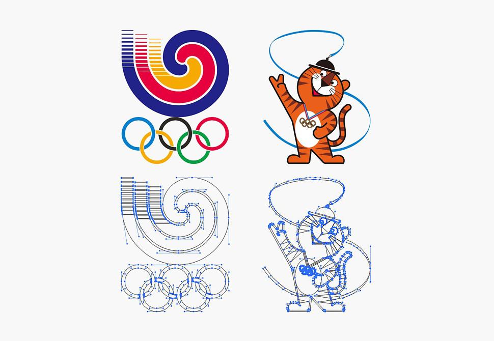 올림픽 휘장 및 마스코트 편람 작도법 및 벡터 작업 과정