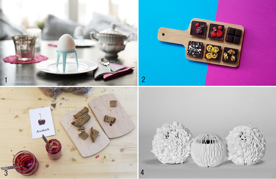 MCBW Start-up에 참여한 스타트업체의 제품들 1. ⓒ produkte + gestaltung, 2. ⓒ Chocqlate, 3. ⓒ LAUTHALS: Ugly fruits, ⓒ Shapes in Play: Cloudspeaker