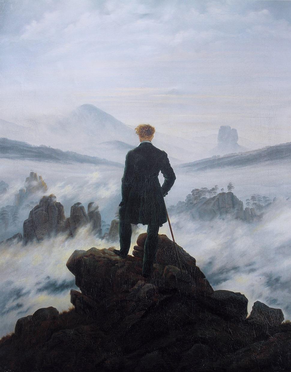 독일 낭만주의 풍경화가 카스파르 다비드 프리드리히(Caspar David Friedrich)가 그린 <안개의 바다를 내려다 보고 있는 방랑자(Wanderer above the Sea of Fog)> 1818년 작. 94.8 × 74.8 cm. Kunsthalle Hamburg