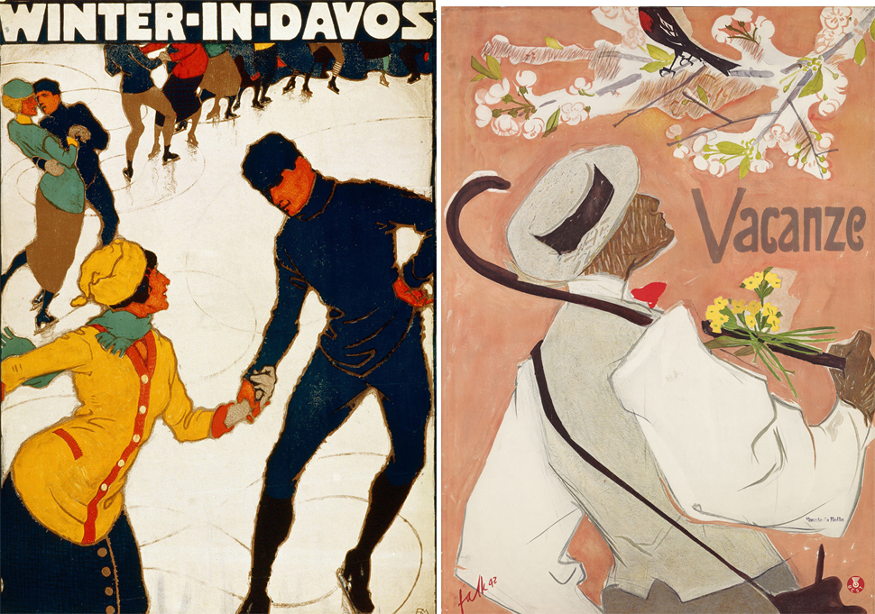 좌. Burkhard Mangold, Winter in Davos, poster, 1914, Museum fuer Gestaltung, Poster Collection, ⓒ Katharina Steffen-Mangold, Basel  우. Hans Falk, Vacanze, poster, 1942, Museum fuer Gestaltung, Poster Collection, ⓒ Cornelia Falk, Zurich