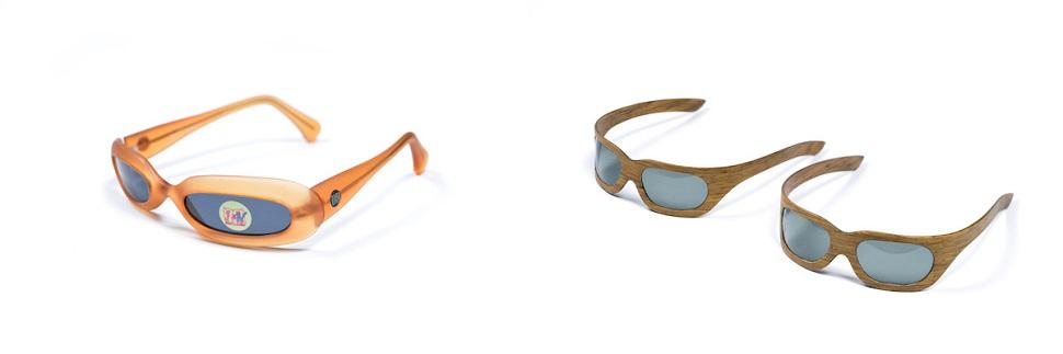 (왼쪽) 피니 라이보비치가 디자인한 뉴욕 MTV 선글라스. 작고 길쭉한 렌즈와 두터운 안경테는 에스키모인들이 수천 년 전부터 눈과 바람으로부터 눈을 보호하기 위해 썼던 눈 보호대를 연상시킨다. (오른쪽) 에즈리 타라치가 2005년 디자인한 카본우드 안경은 여러 겹의 나무껍질과 탄소섬유를 융화시키는 라미네이트 공법으로 제작되었다. 미국에서 한정수량으로 판매되었고 <패스트 컴퍼니(Fast Company)>지 선정 2005년 혁신제품 50선에 선정되기도 했다. Image by Shay Ben Efraim. Courtesy: Design Museum Holon.
