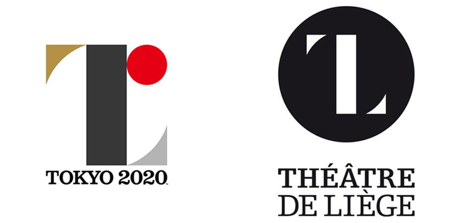 사노 켄지로(佐野研二郎)가 디자인한 2020 도쿄 올림픽 공식 엠블럼(좌)와 벨기에 리에쥬 극장 로고(우)