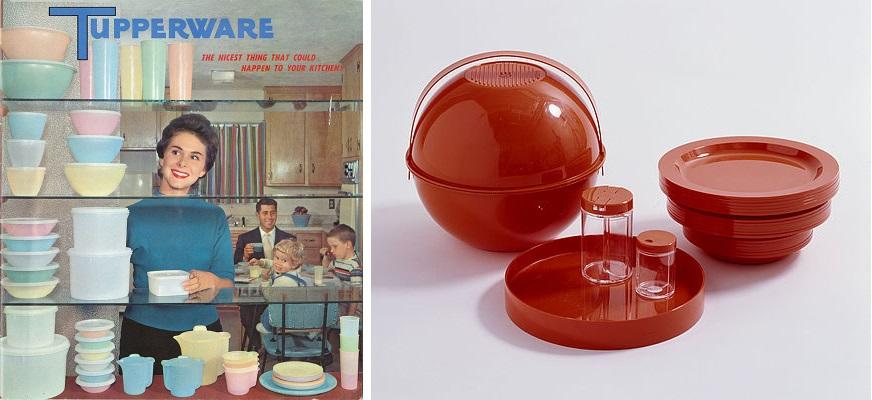 (왼쪽) 1950년대 미국에서 출시된 터퍼웨어(tupperware) 플라스틱 가정용 용기세트는 가사와 주방으로부터 주부를 해방시켜줄 혁신적인 소재로 마케팅됐다. (오른쪽) 스투디오 구치니(S.T.G. Studio Tecnico Guzzini)가 디자인한 픽 볼(Pic Boll) 피크닉용 식기세트는 1970년대 유럽과 미국 디자인계를 휩쓸었던 미래우주시대 미학을 플라스틱 소재와 강렬한 색상으로 일축시켜 표현했다. 1977, Foto: Franz Xaver Jaggy, © Museum für Gestaltung Zürich, Designsammlung.