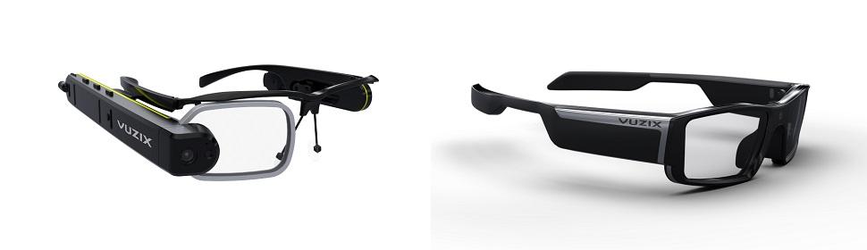 뷰직스(Vuzix) 사의 M3000 증강현실 스마트 안경(왼쪽)과 블레이드 3000 스마트 선글라스(오른쪽)는 이 제조사 특허의 웨이브가이드 광학기술과 코브라 II 디스플레이 엔진을 장착하여 안경 렌즈에 컴퓨터 스크린 상의 풀컬러 정보가 보이는 인터페이스를 제공한다. 스마트폰이나 스마트워치 처럼 사용자가 정보를 읽기 위해 고개를 숙이지 않아도 되고 각종 정보를 렌즈 디스플레이에 오버레이로 한눈에 조망할 수 있다. 세련된 안경테 디자인 덕분에 스마트 기기 겸 패션 선글라스, 두 가지 용도로 사용 가능하다. Courtesy: VUZIX® & © 2017.