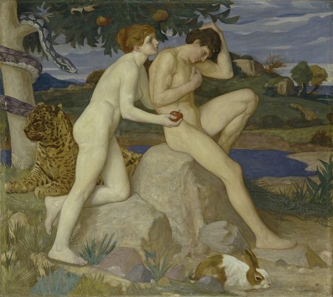 윌리엄 스트랭 WILLIAM STRANG (1859–1921) 유혹  1899 / 캔버스에 유채 / 122 × 137.2 ㎝ The temptation  1899 / oil paint on canvas Tate: Presented by the Friends of the Tate Gallery 1999