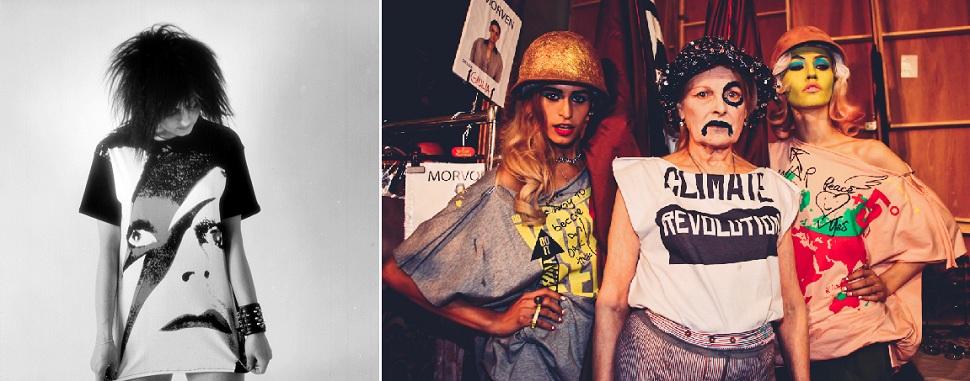(왼쪽)데이비드 보위 티셔츠(Face No 1 BOWIE t-shirt)를 입고 모델을 서고 있는 1970-80년대 록스타 웬디 메이(Wendy May)의 모습. Photographed by Sheila Rock for BOY BLACKMAIL, 1981. Dove/White. Courtesy of Paul Stolper Gallery. (오른쪽)패션쇼 백스테이지에서 기후변화를 경고하는 메시지가 담긴 티셔츠를 입고 모델들과 시위를 벌이고 있는 패션 디자이너 비비안 웨스트우드의 모습. Photo: Marta Lamovsek.