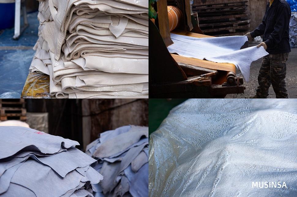 오일 작업 후 축축한 상태의 가죽에서 물기를 제거하고 건조장으로 옮길 준비를 한다.