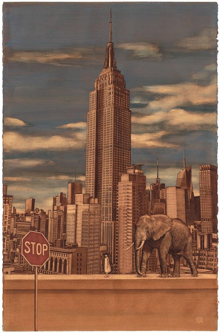 장노아, 〈엠파이어 스테이트 빌딩(381m)과 아프리카 코끼리(VU)〉, 2015, Watercolor on Paper, 76x57cm