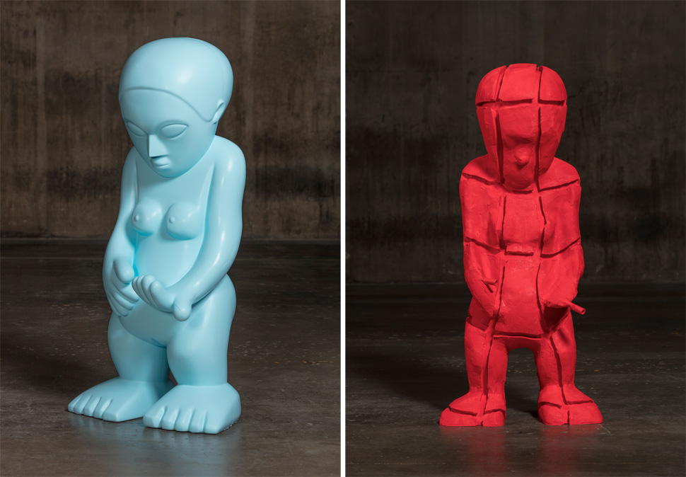 〈Picabia Idol〉, 2015-2017, Silicone, 162.6x76.2x58.4cm / 〈Picabia Idol Core〉, 2015-2017, Silicone, 156.8x50.8x69.9cm, Photography ©2017 Fredrik Nilsen, All Rights Reserved, Courtesy of the artist, Hauser & Wirth and Kukje Gallery