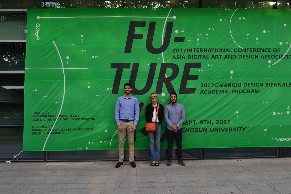 좌부터 어거스틴 페데레이라(Agustin Pereira) 학생, 안나 메로니(Anna Meroni)교수, 레안드로 스그로(Leandro Sgro), Photo by Leandro Sgro