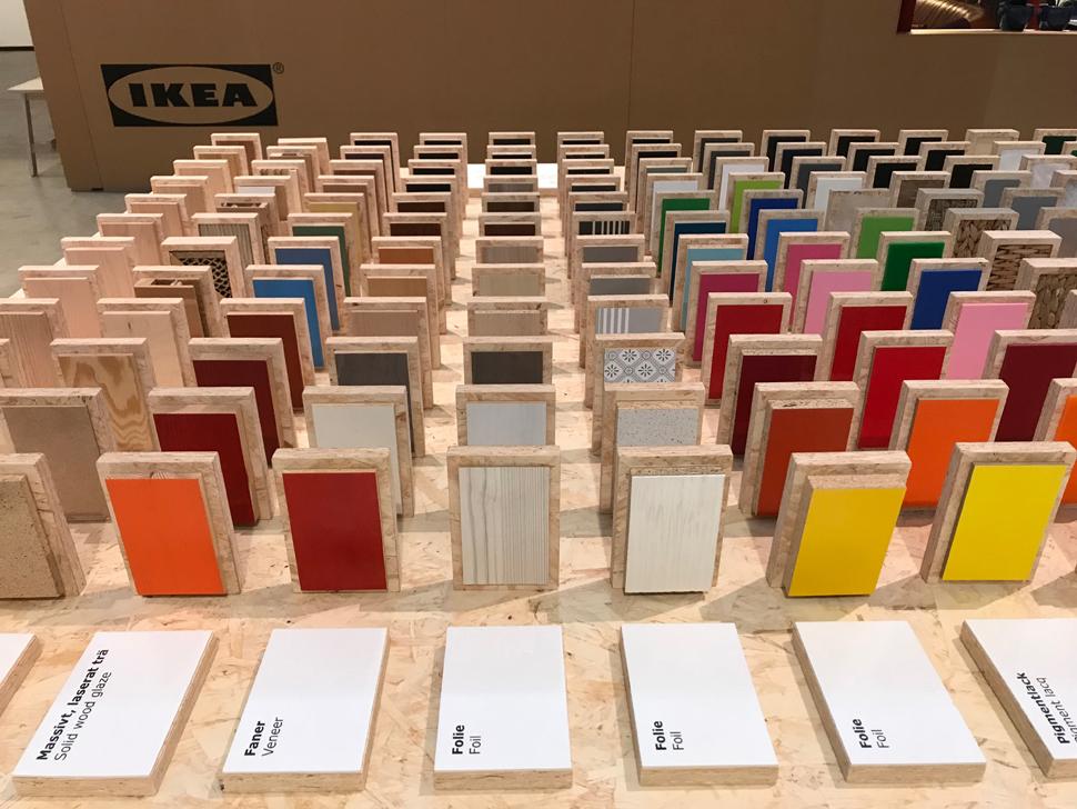 이케아 제품에 사용되고 있는 소재 컬렉션(Material collection) 테이블