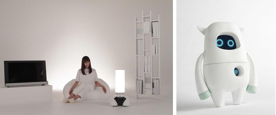 (왼쪽) 도쿄 소재 플라워 로보틱스(Flower Robotics) 디자인 스튜디오의 의뢰로 마츠이 타츠야(Tatsuya Matsui)가 디자인한 가정용 로봇 <파틴(Patin)>은 다목적 가정 관리 겸 엔터테인먼트 집사 로봇으로 싱글 도시인들을 겨냥한 제품이다. 2014년 ©Flower Robotics, Inc. (오른쪽) 지나 레온(Gina Leon)과 조스 리(Zos Lee)가 AKA 인텔리전스 사를 위해 디자인한 뮤지오(Musio) 소셜 로봇은 안드로이드 기반 인공지능 로봇이며 친근하고 귀여운 외형이 시사하듯 친구 겸 반려로봇이다. ©AKA, LLC. Image courtesy: Vitra Design Museum.