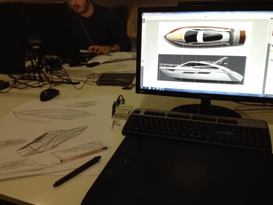 주지아로 계열 Officinemultiplo 재직 당시, 요트 디자인 프로젝트 작업 모습