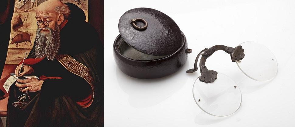 (왼쪽) 13세기 이탈리아에서 최초로 코 위에 걸칠 수 있도록 한 안경이 디자인되었다. '코를 집는다'는 의미에서 '팽스네(pince nez)'라고 불리는 이 코안경은 한 손으로 잡고 있어야 하는 돋보기 렌즈를 코 위에 걸 수 있게 해 손을 해방시켜 주었다. 15세기 르네상스 화가 피에로 디 코시모(Piero di Cosimo)의 회화 <성 니콜라스와 성 아토니우스의 방문> 중 팽스네 안경을 쓴 성 안토니우스의 모습. Collection: National Gallery of Art, Washington, D.C. (오른쪽) 18세기 유럽에서 크게 유행했던 이 스타일은 멀리 중국으로까지 건너갔다. 18세기 중국산 접개식 코안경과 안경집은 청동 소재로 제작되었다. Image by Eli Bohbot. Courtesy: Design Museum Holon.