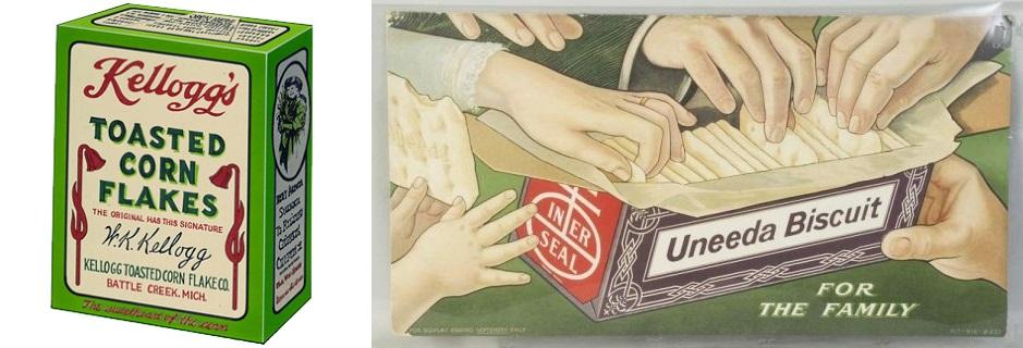 (왼쪽) 1911년 잡지에 실렸던 켈로그의 아침식사용 시리얼인 콘플레이크 광고. 켈로그는 시리얼 포장재로 1906년에 업계 최초로 카드보드 종이를 사용했다. (오른쪽) 미국 스낵생산업체 나비스코(NABISCO)사의 유니다 비스킷(Uneeda Biscuit). 인쇄기술자 로버트 게이어(Robert Gair)가 발명한 괴손가공법을 이용한 접음상자(folding carton)를 패키징으로 사용했다. 1915년경에 나온 이 광고는 가족이 함께 먹는 과자라는 메시지를 전달했다.