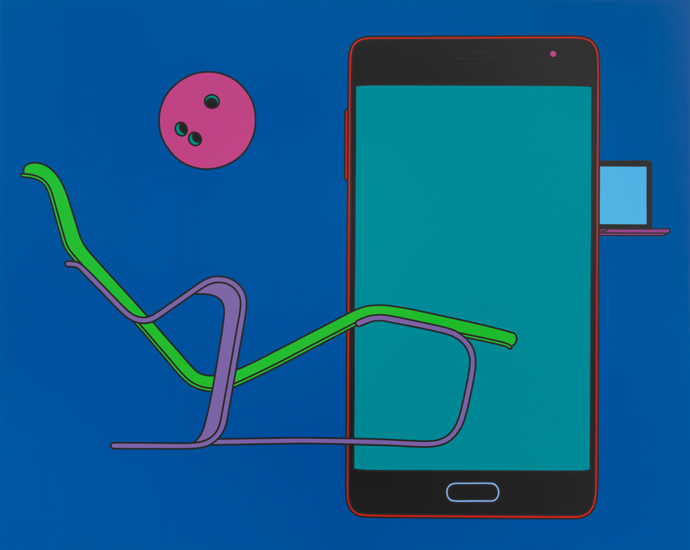 〈Commonplace (with chaise)〉, 2017, Acrylic on aluminium, 200x250cm, ©Michael Craig-Martin Courtesy the artist and Gagosian
