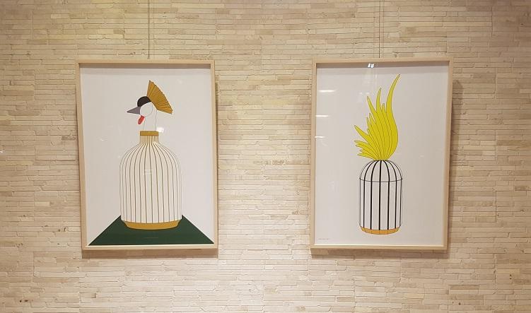 롯데백화점 본점 에비뉴엘에 전시된 구세나 디자이너의 드로잉 작품