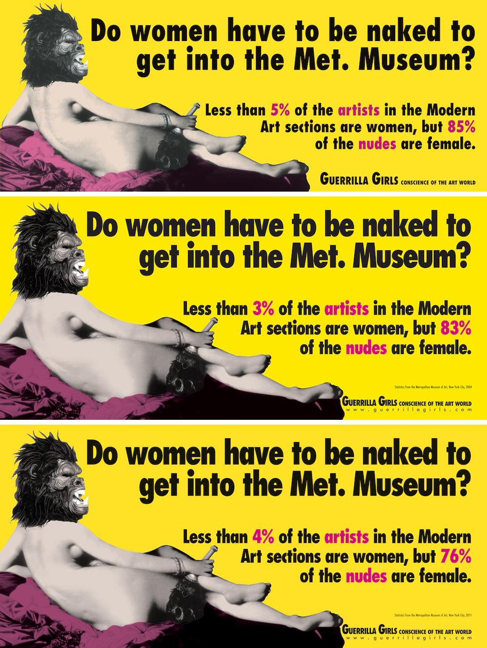 <여성이 메트로폴리탄 미술관에 들어가려면 발가벗어야 하는가?> 1989년 에디션(상), 2005년 에디션(중), 2012년 에디션(하)