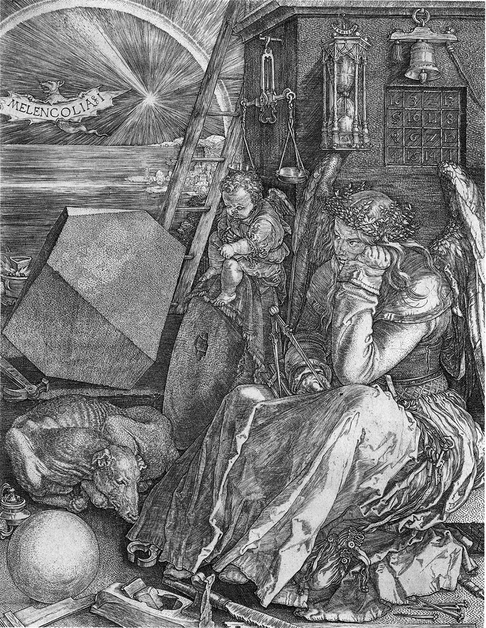 독일의 르네상스 화가·명인 도제사 알브레히트 뒤러(Albrecht DŰrer)가 제작한 동판화 <멜랑콜리아(Melancholia)>는 창조하는 미술가의 고뇌와 외로움을 표현한다. 로버트 버튼(Robert Burton)이 쓴 책 <멜랑콜리의 해부학>(1621년간)에 따르면 모름지기 천재든 아니든 장인이나 예술가는 한번 일에 몰두하면 깊은 생각에 빠지고 내면 성찰적인 마음 상태로 접어들며 육체도 뒤따라 고독과 의기소침한 상태 즉, 멜랑콜리에 빠진다고 했다. 이렇게 하여 외롭고 골몰하는 르네상스의 예술가 개념도 탄생했다.
