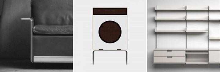 (좌부터) 620 Chair Programme, 1962, by Dieter Rams for Vitsœ L 2 speaker, 1958, by Dieter Rams for Braun 606 Universal Shelving System, 1960, by Dieter Rams for Vitsœ