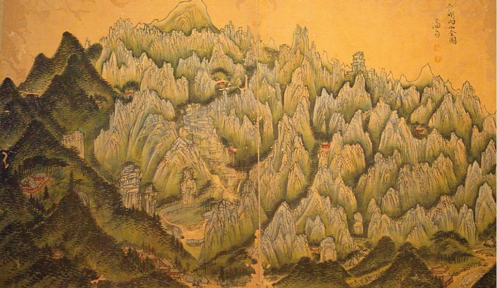 겸재 정선의 <금강산내산도(金剛內山全圖)> 비단에 엷은 색. 33 X 54.3cm. 18세기. 왜관수도원 소장
