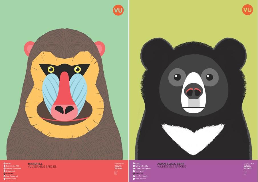 맨드릴 원숭이(Mandrill)와 반달가슴곰(Asiatic Black Bear). 반달가슴곰은 한국의 천연기념물이며 국내 절멸위기에 놓여있다.