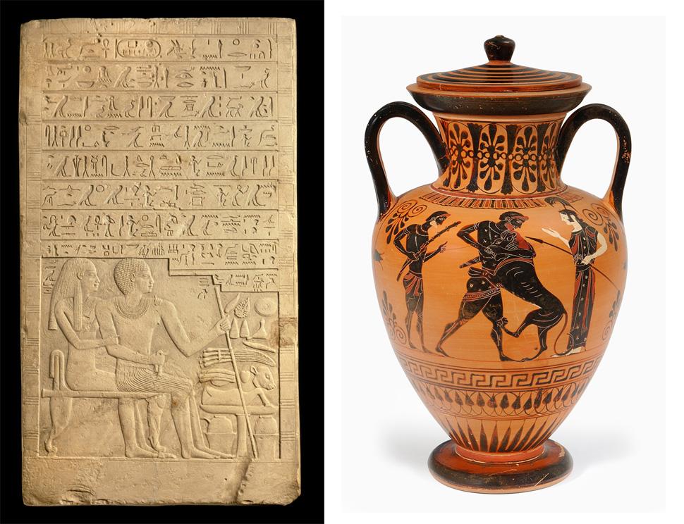 (왼쪽)고대 인류는 강력한 지도자의 치적을 건축물이나 공공장소에 그림과 기호문자로 기록해서 대중이 보고 감명받게 하는 비주얼 스토리텔링 기법을 썼다. 고대 이집트 제12왕국 아메넴헤트 왕 석비 부조. 기원전 1760~1939년에 제작 추정. (오른쪽)기원전 6세기 고대 그리트 아티카에서 만들어진 암포라 도자기는 영웅 헤라클레스의 고행 이야기를 그림으로 전달했다. ⓒ Museen für Kulturgeschichte Hannover
