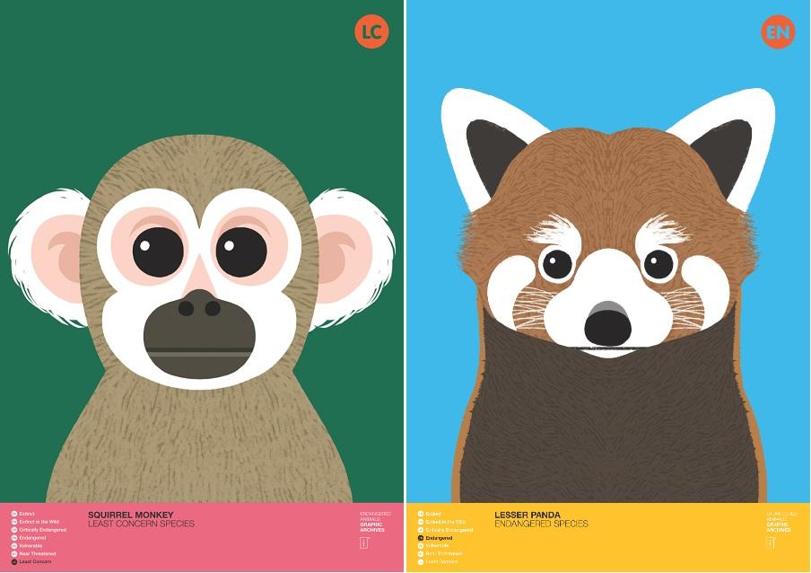 다람쥐 원숭이(Squirrel Monkey)와 랫서팬더(Lesser Panda). 랫서팬더는 판다로 불리는 대왕판다보다 먼저 판다라는 이름이 붙여졌다.