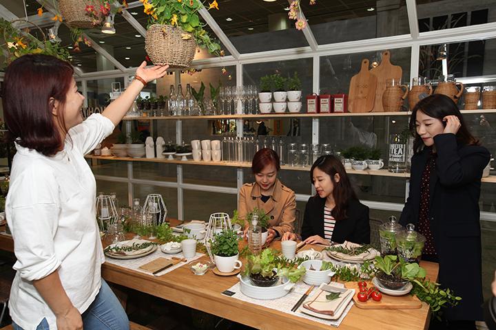 까사미아는 도심 속 생활정원 '포터블 가든(pot-able Garden)'을 통해 화분과 가든 퍼니처를 이용, 도시형 실내외 생활정원을 선보인다.