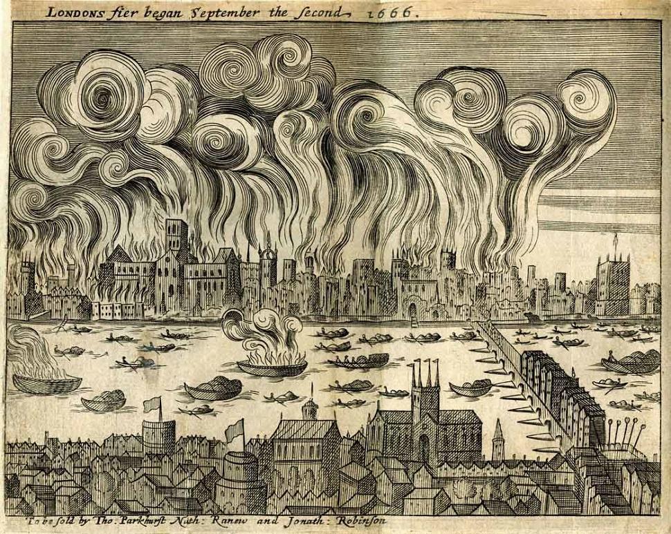 1666년 런던 대화재는 오늘날 가치로 약 15억 파운드(우리 돈 약 3천 억 원) 가치의 손해를 남겼지만 사상자가 거의 없었다. 이 화재를 계기로 세계 최초로 영국에서 건물 재산에 대한 화재보험이 생겼다. Samuel Rolle 출판사가 1667년에 출간한 화보 〈Shlohavot, or, The burning of London in the year 1666〉 중에서. Courtesy: Museum of London.