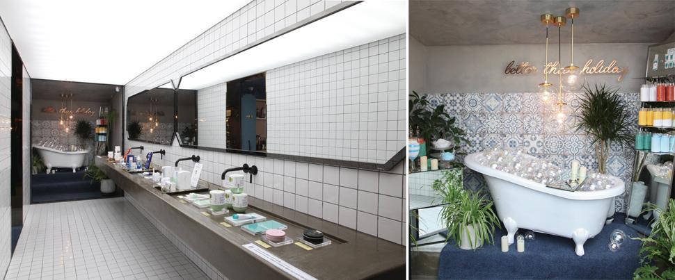 집에서 홈스파를 제일 많이 하는 곳으로 욕실을 상상해 꾸몄다. 또한 이 공간을 포토존으로 활용해 고객들의 참여를 높이고 있다.