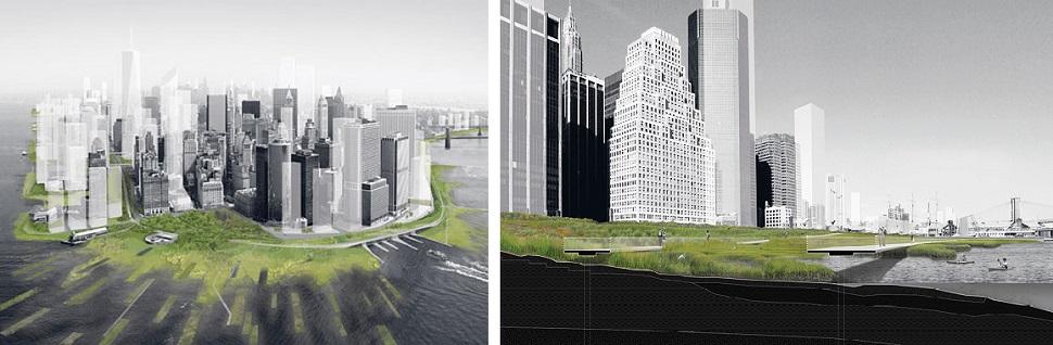 뉴욕현대미술관(MoMA)이 미래 바다 수위 상승 및 수해로부터 남부 맨해튼을 보호할 방안을 마련하기 위해 실시한 아이디어 공모 중 Stephen Cassell, Adam Yarinsky, Susannah C. Drake 건축가 3인의 설계안. 섬 주변을 녹색 지대로 개발하여 물이 많아질 이곳의 특성을 장점으로 살렸다. 'Rising Currents' 전 중에서. Courtesy: Museum of Modern Art, 2010.
