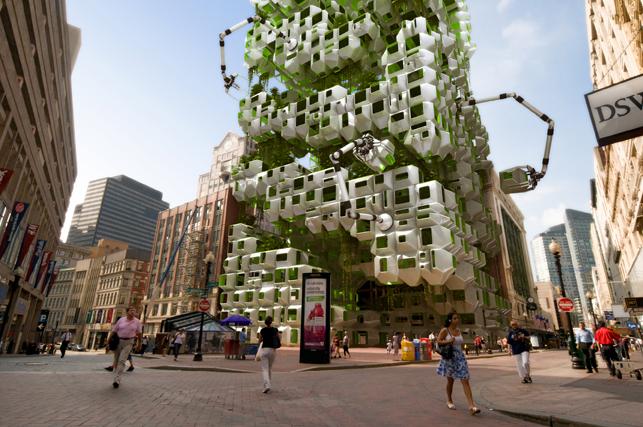 공상과학 소설가 브루스 스털링은 향후 2050년이 되면 지구상 인구는 10조를 육박하고 그중 75%가 도시에 모여 살 것이며, 도회 환경은 두바이 스타일의 초고층 빌딩도시가 될 것이다. 또한 지금과 달리 수자원과 폐기물로 인한 환경오염이 문제점으로 등장할 것이라 예견한다. Höweler+Yoon Architecture and Squared Design Lab, EcoPods, 2009년, architectural mockup ©Höweler + Yoon Architecture and Squared Design Lab.